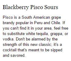 Blackberry Pisco Sours