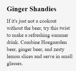 ginger shandies
